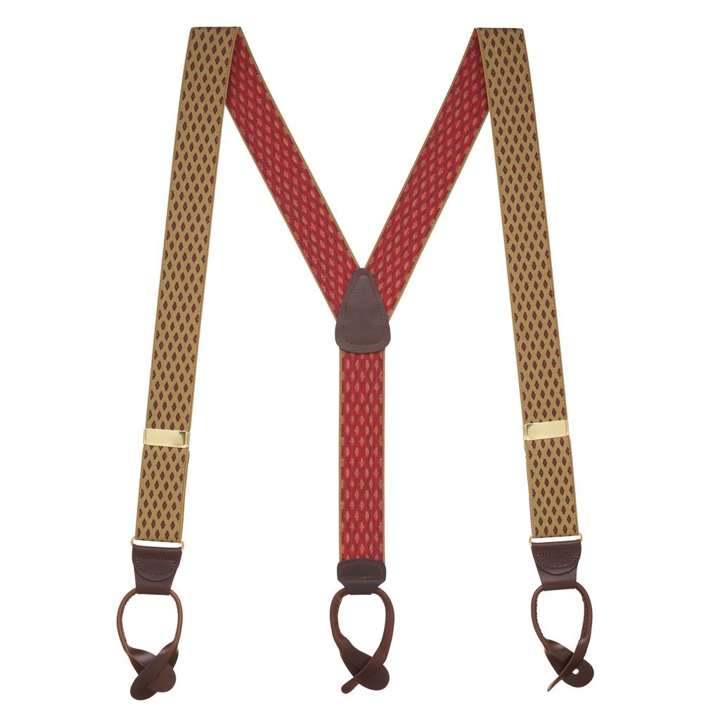 TAN Jacquard Diamond Burst Suspenders - Button - Full View