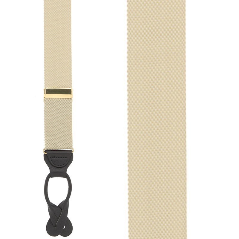 Khaki Oxford Cloth Suspenders - Button - Front View