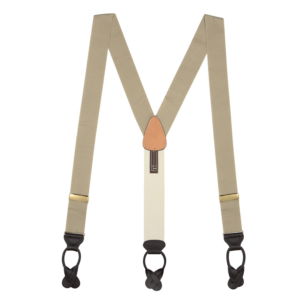 Khaki Oxford Cloth Suspenders - Button - Full View