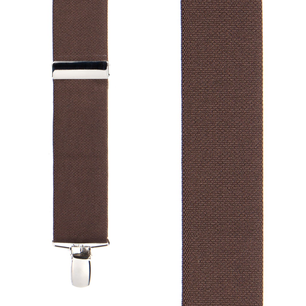 Front View - 1.5 Inch Wide Clip Suspenders - BROWN