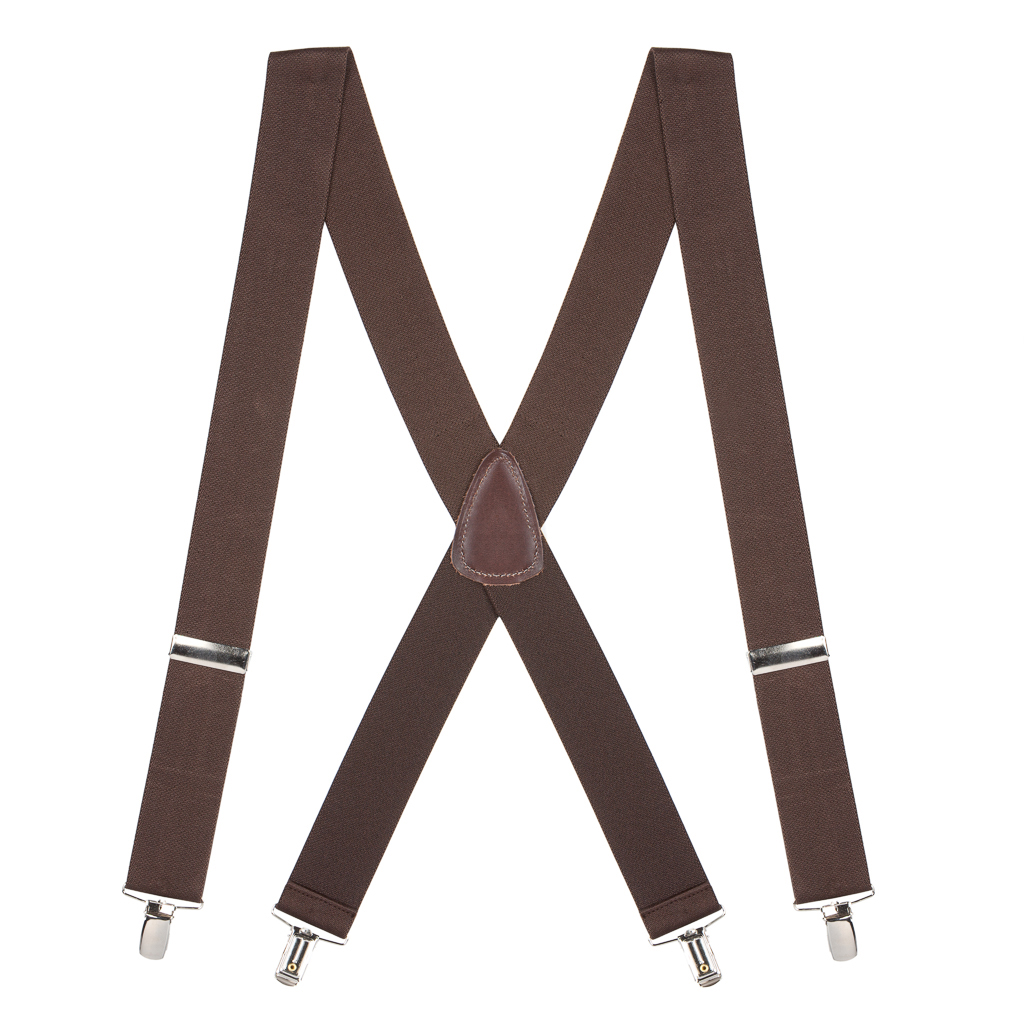 Full View - 1.5 Inch Wide Clip Suspenders - BROWN