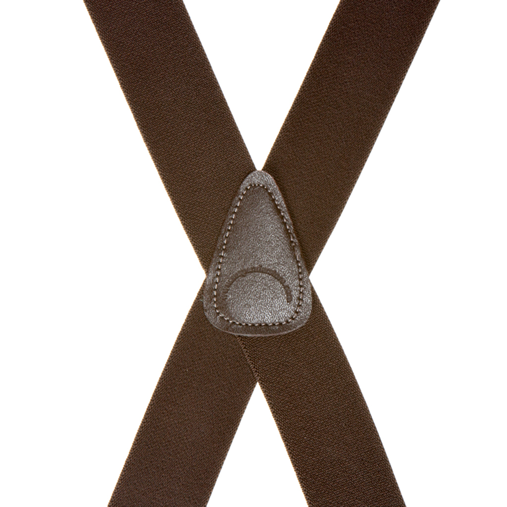 Rear View - 1.5 Inch Wide Clip Suspenders - BROWN