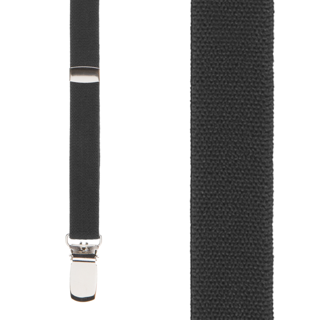 3/4 Inch Wide Thin Suspenders in Black Matte - Front View