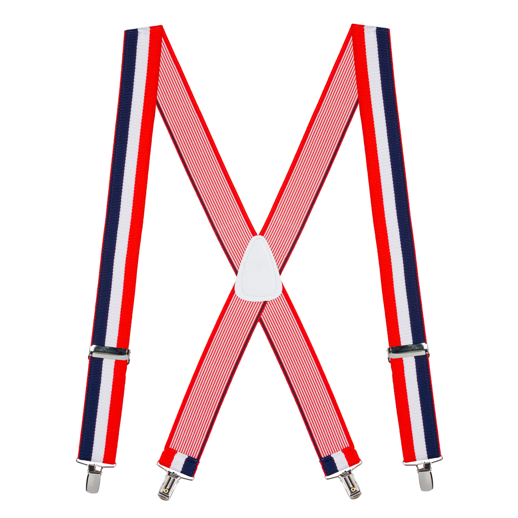 Full View - Red/White/Blue Striped Clip Suspenders - 1.5 Inch Wide