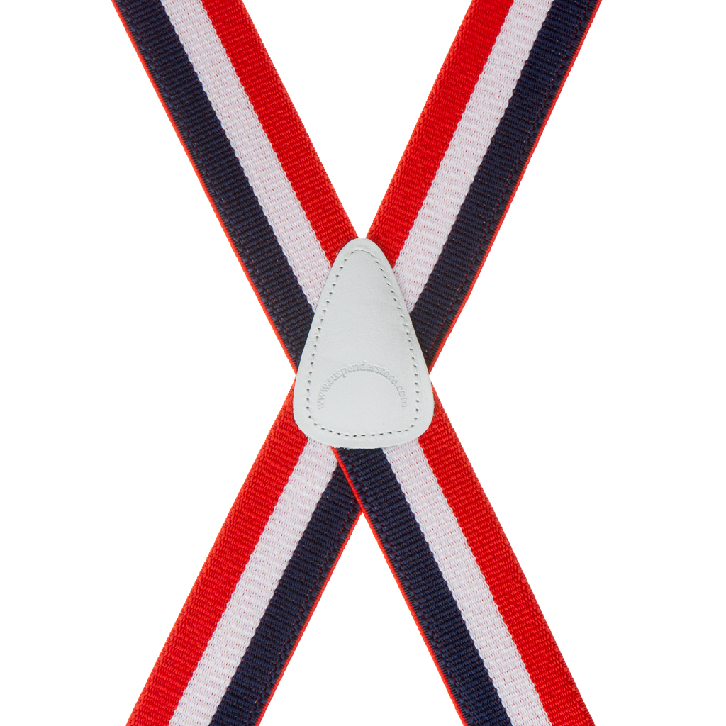 Rear View - Red/White/Blue Striped Clip Suspenders - 1.5 Inch Wide