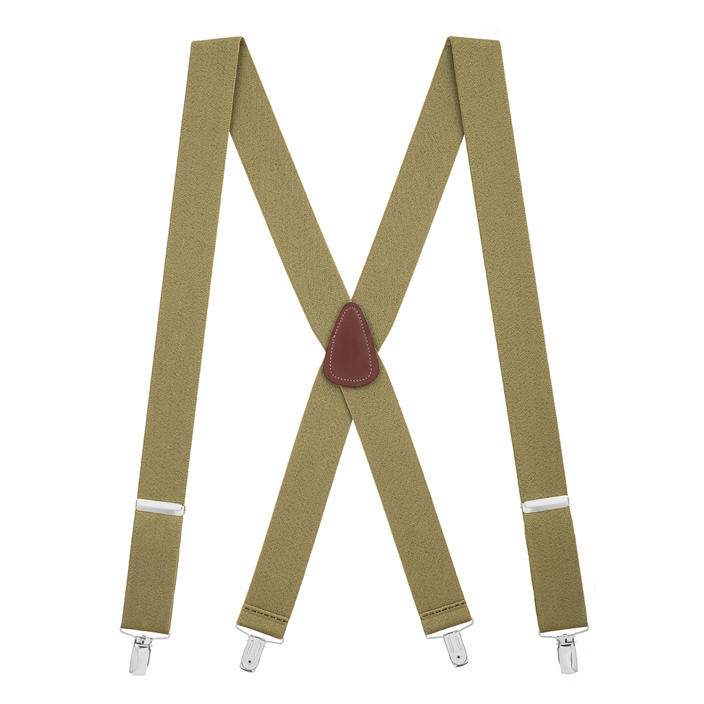 Full View - 1.5 Inch Wide Clip Suspenders - TAN
