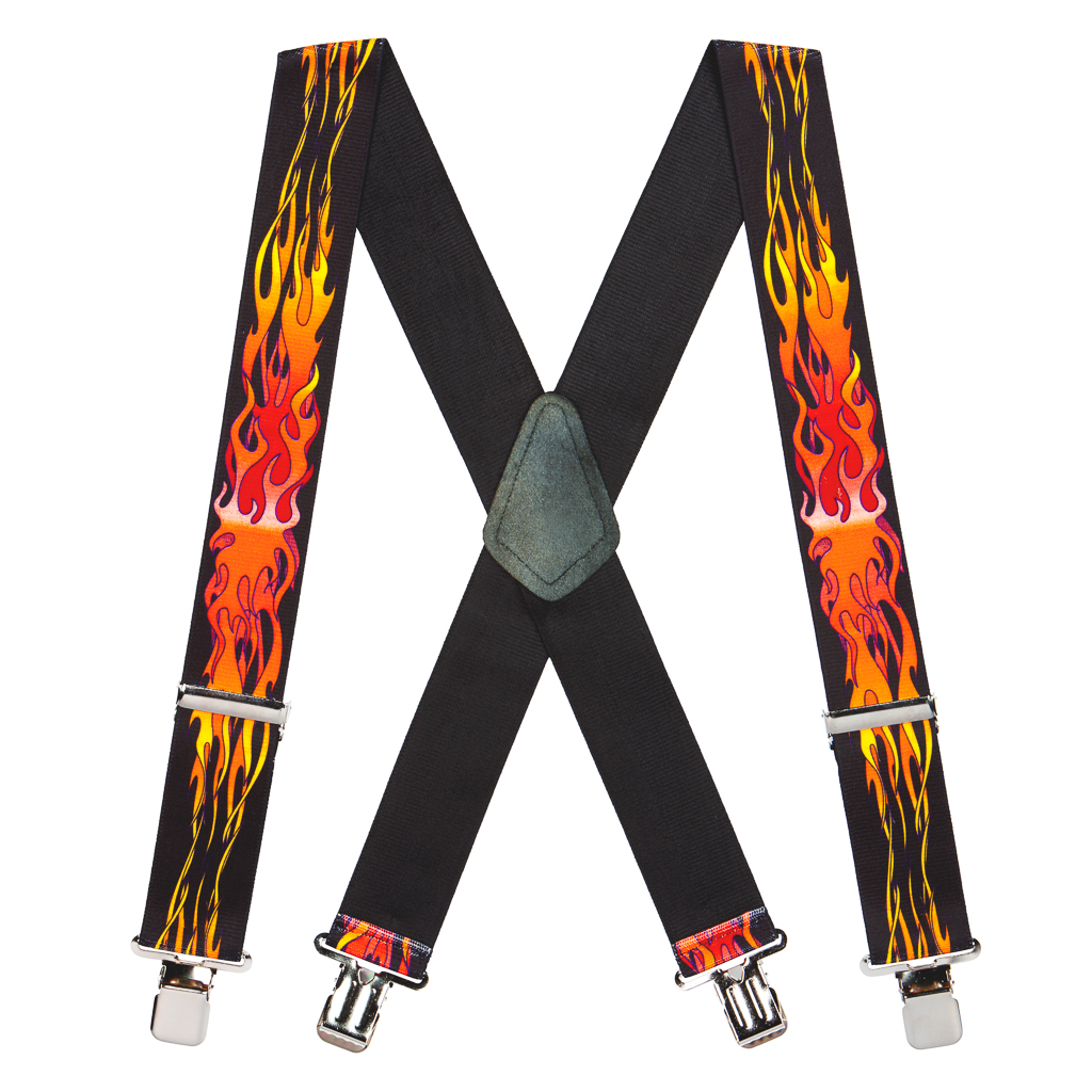 Orange Flames Suspenders Full View