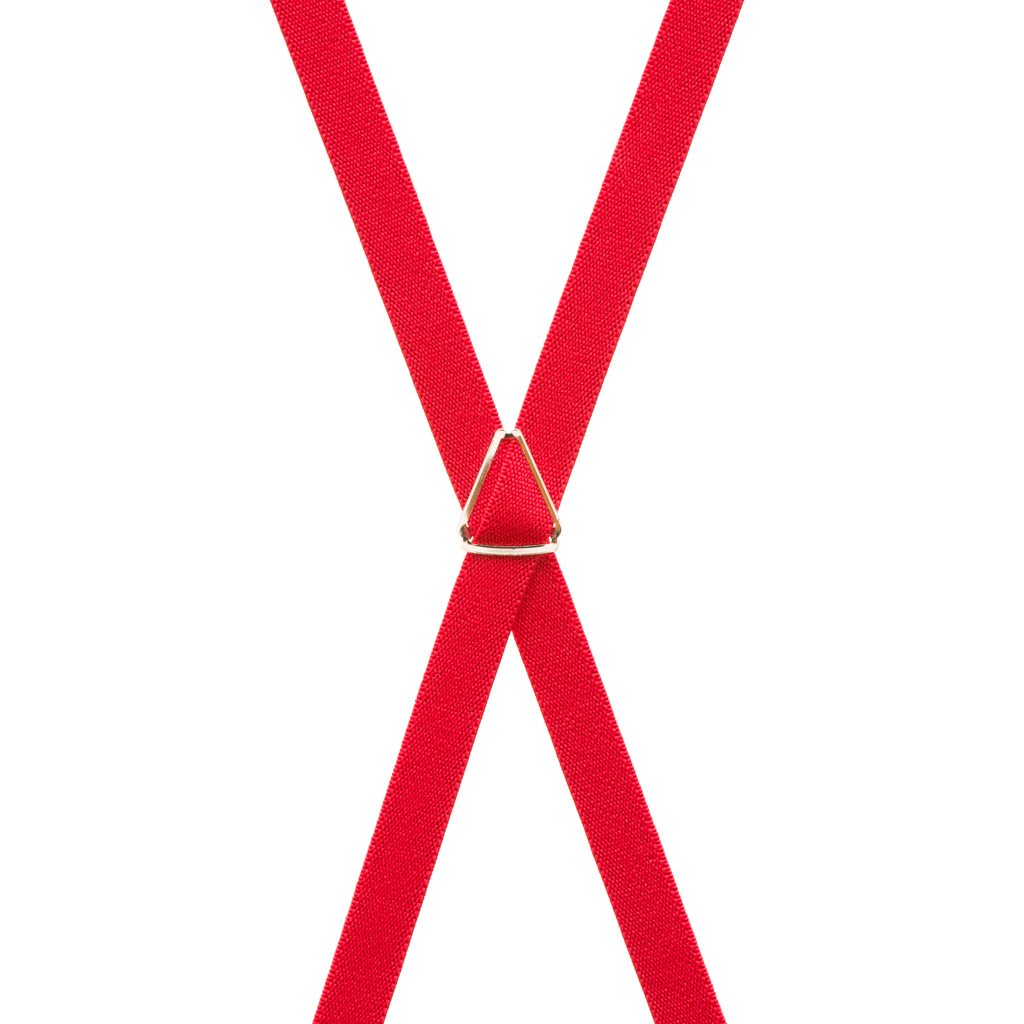 3/4 Inch Wide Thin Suspenders - RED (Matte) - Rear View