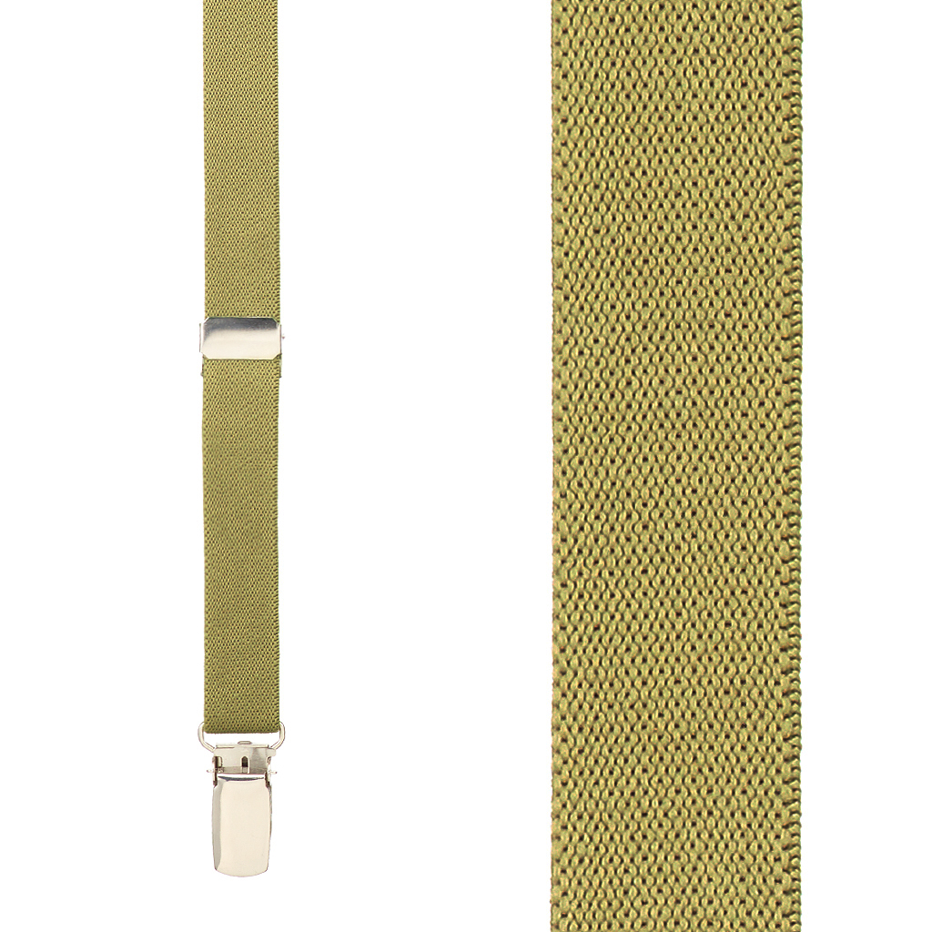 3/4 Inch Wide Thin Suspenders - TAN (Matte) - Front View
