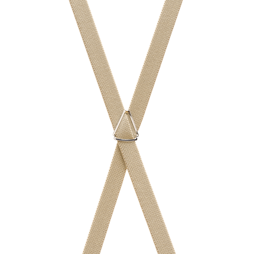 3/4 Inch Wide Thin Suspenders - TAN (Matte) - Rear View