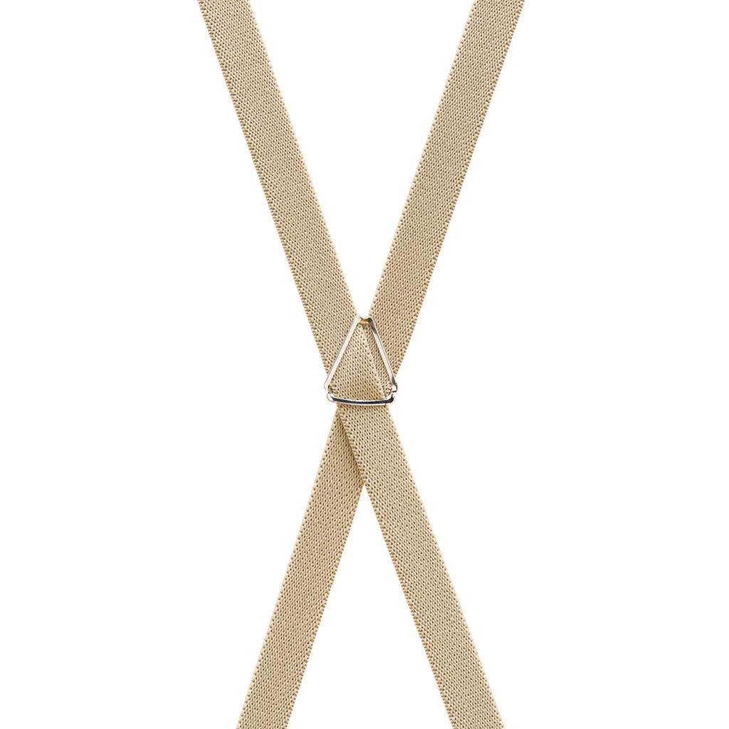 3/4 Inch Wide Thin Suspenders - TAN (Matte) - Rear View