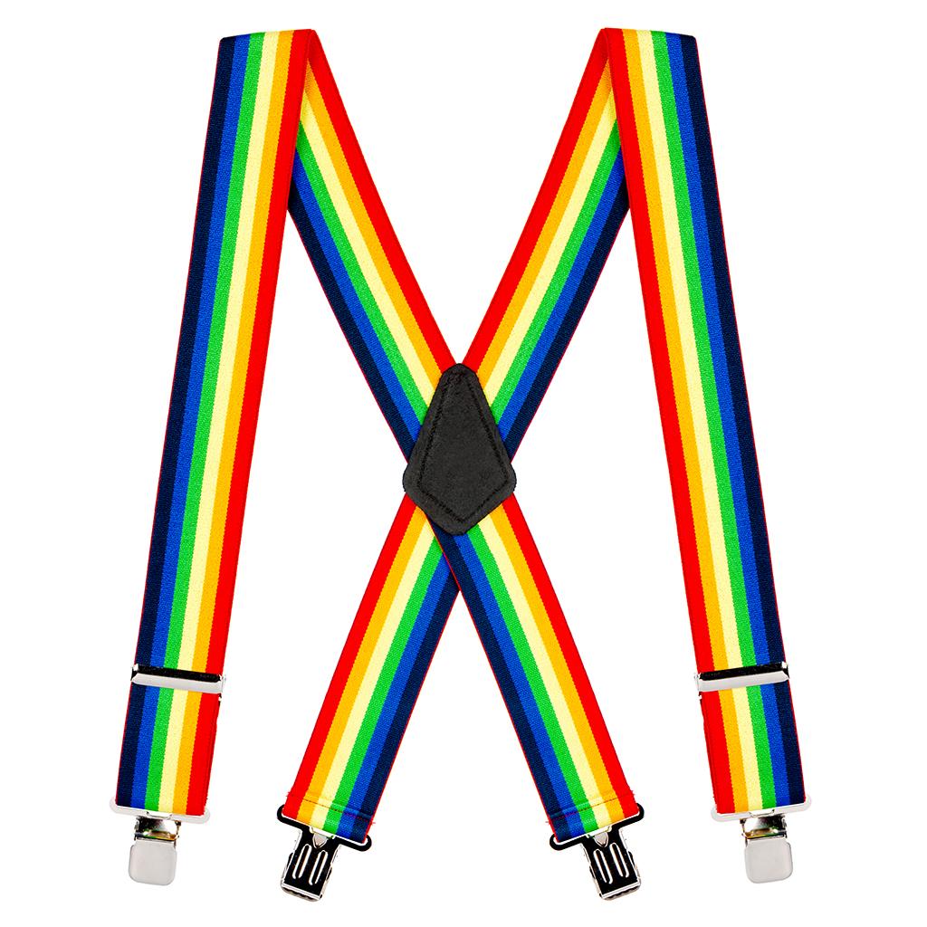 Classic Suspenders - Full View - Rainbow Stripe