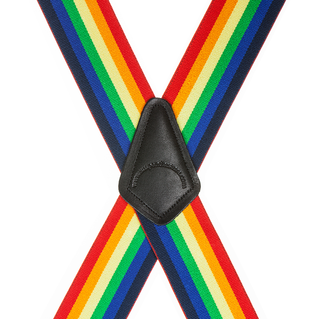 Classic Suspenders - Rear View - Rainbow Stripe