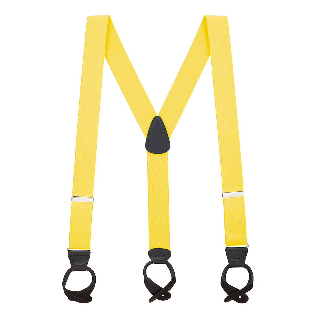 Full View - 1.5 Inch Wide Button Suspenders - YELLOW