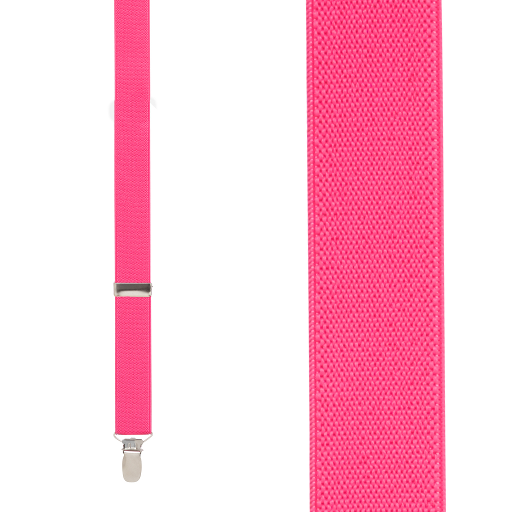 1 Inch Wide Clip Y-Back Suspenders in Fuchsia - Front View