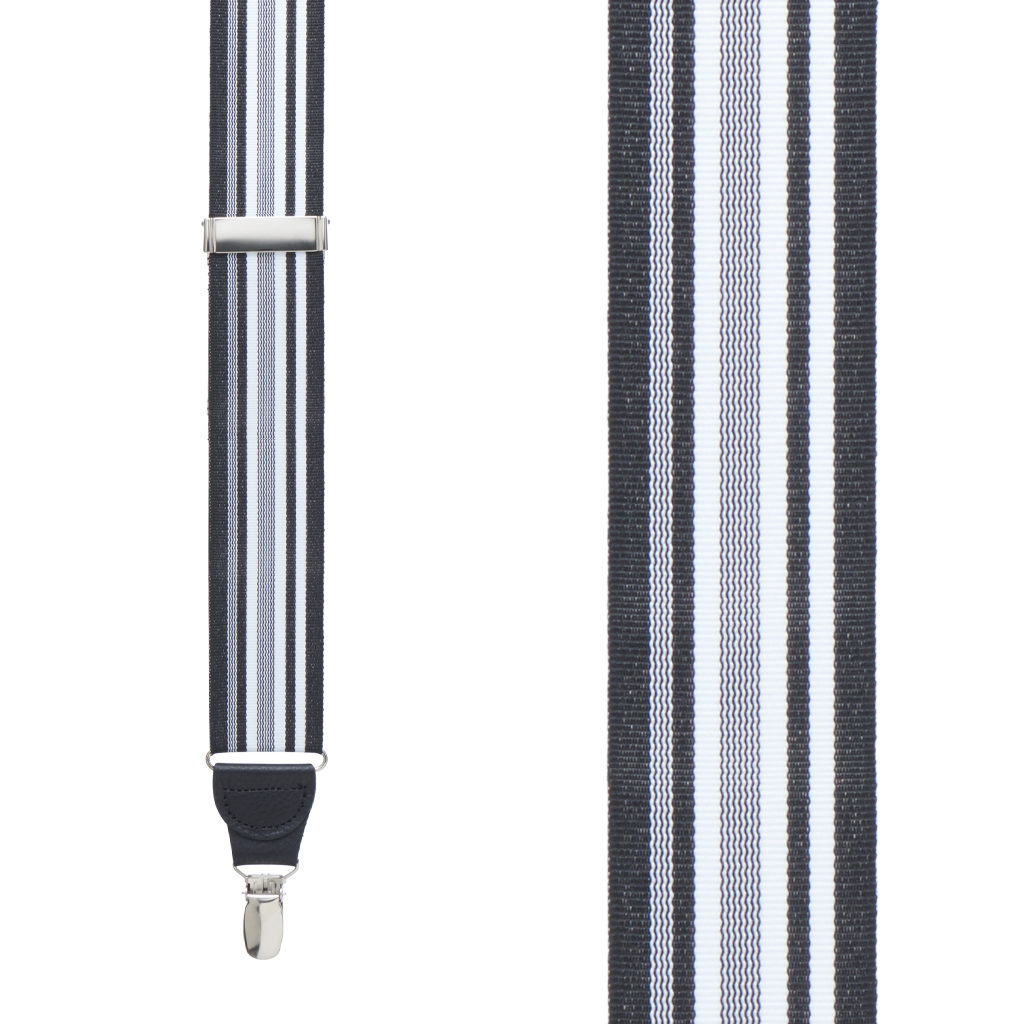 Grosgrain Clip Suspenders - Black and White Stripe Front View