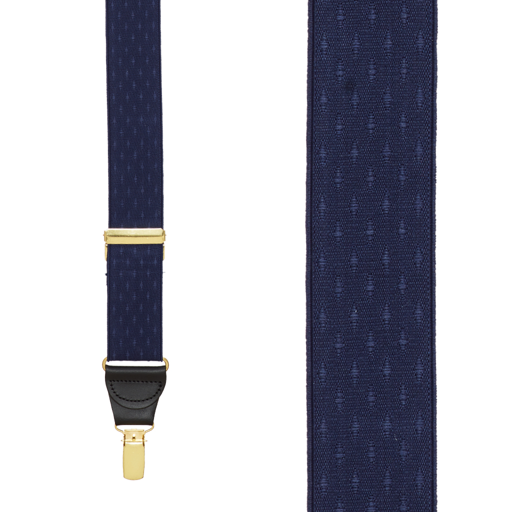 Navy Blue Jacquard Suspenders - Petite Diamonds Clip - Front View
