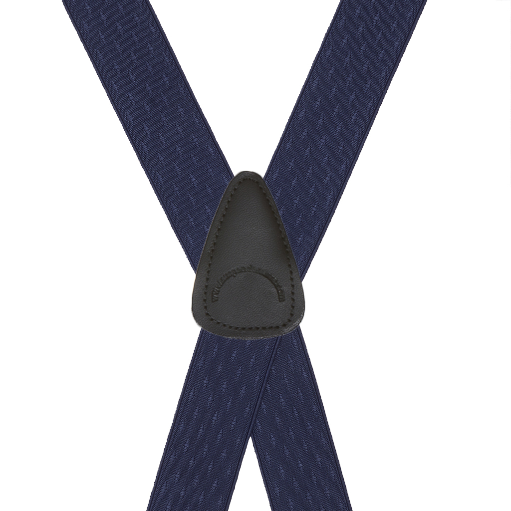 Navy Blue Jacquard Suspenders - Petite Diamonds Clip Rear View