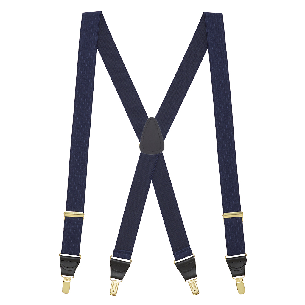Navy Blue Jacquard Suspenders - Petite Diamonds Clip - Full View