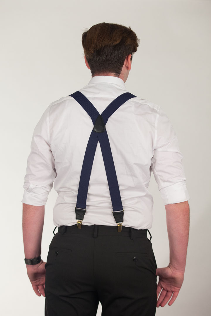 Model Wearing  Navy Blue Jacquard Suspenders - Petite Diamonds Clip Rear View