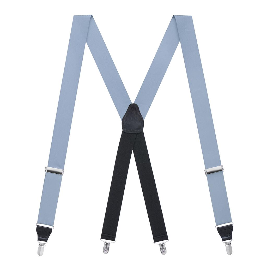 Grosgrain Clip Suspenders - Steel Blue Full View