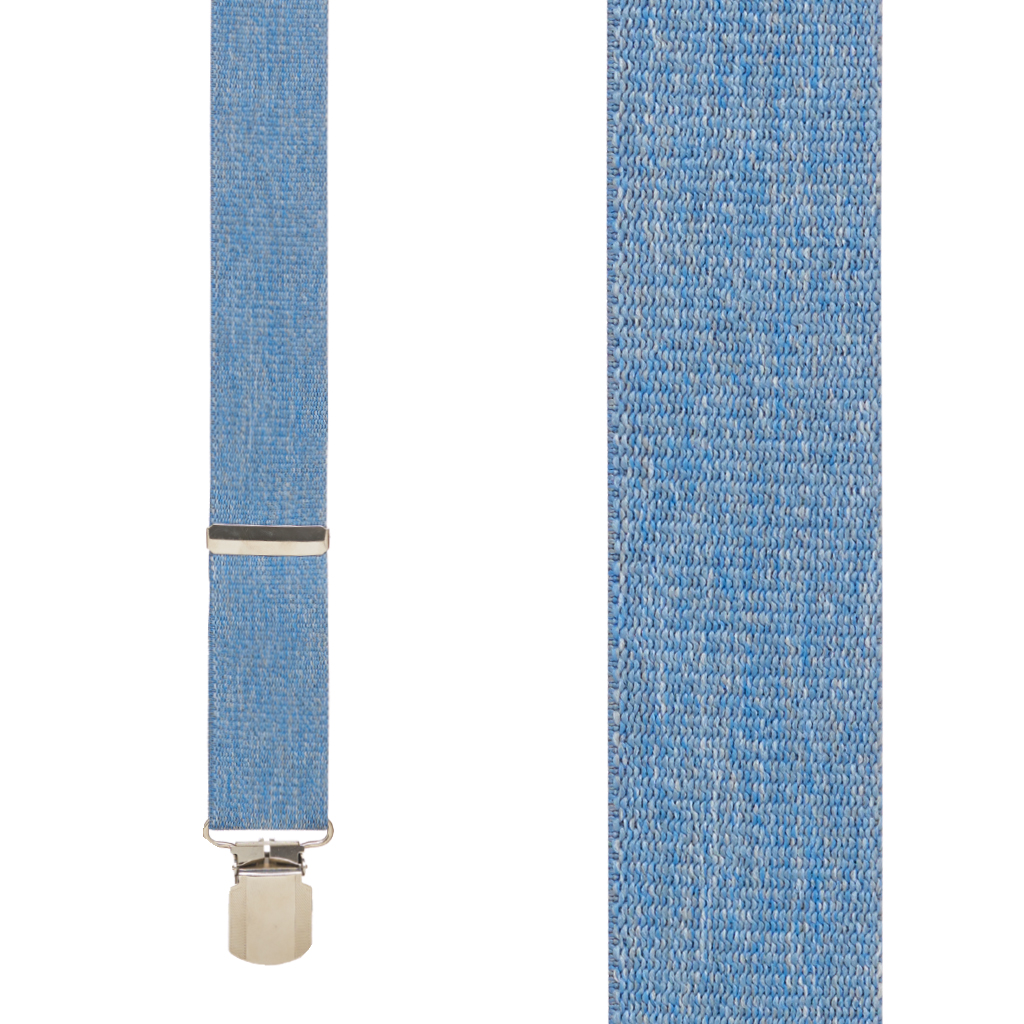 Front View - DENIM 1.5 Inch Wide Pin Clip Suspenders