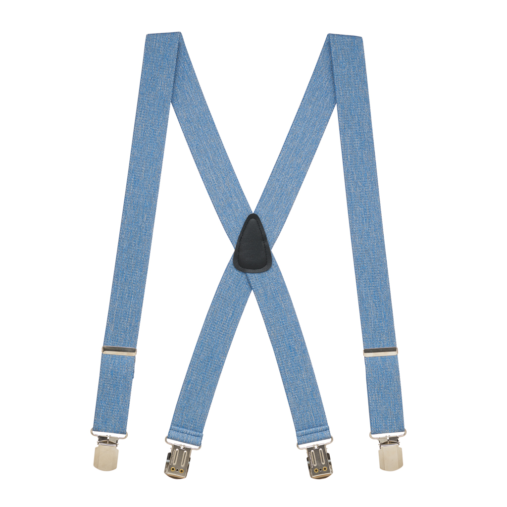 Full View - DENIM 1.5 Inch Wide Pin Clip Suspenders