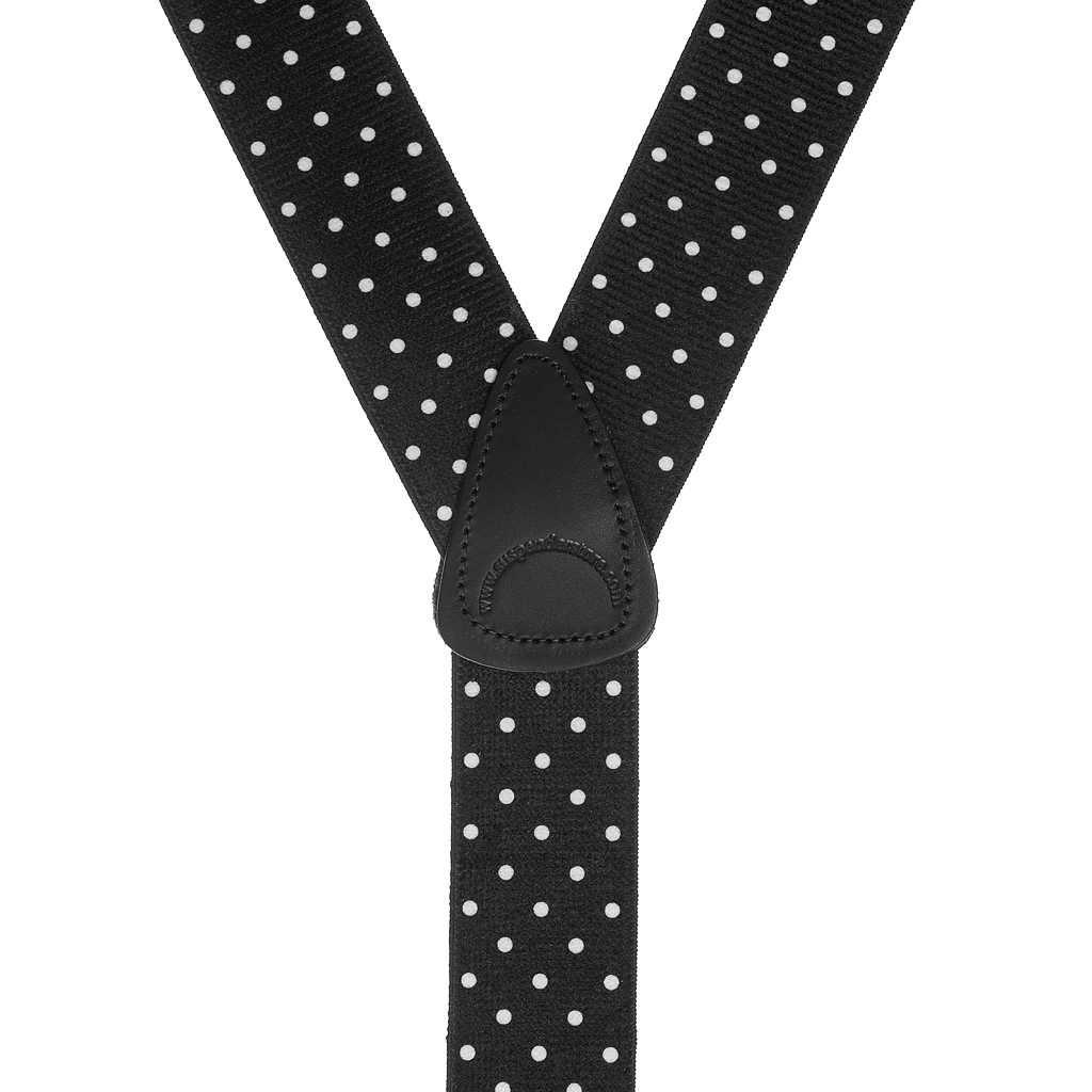Rear View - Polka Dot Suspenders - White on Black 1.5 Inch Wide Button