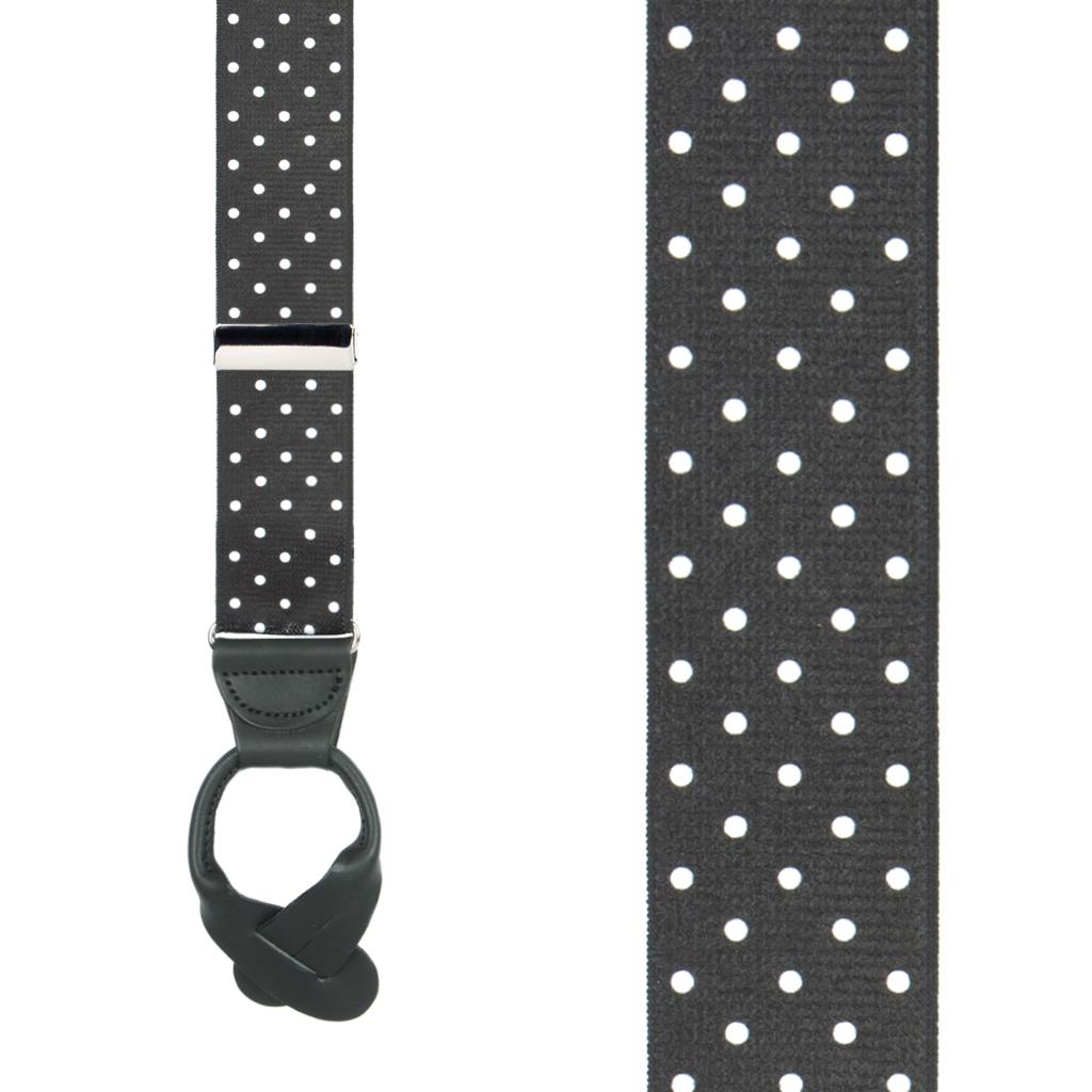 Front View - Polka Dot Suspenders - White on Black 1.5 Inch Wide Button