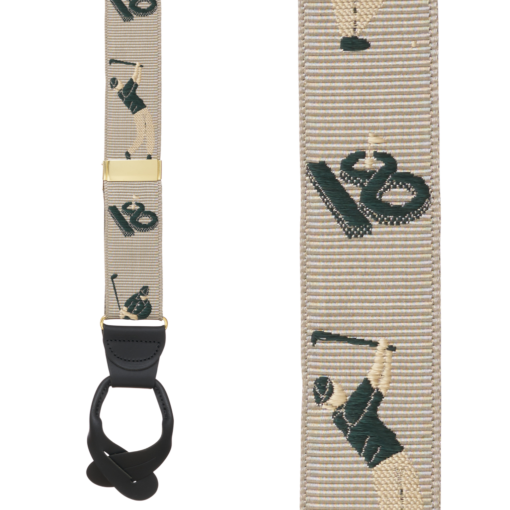 Grosgrain Button Suspenders - Golfer Front View