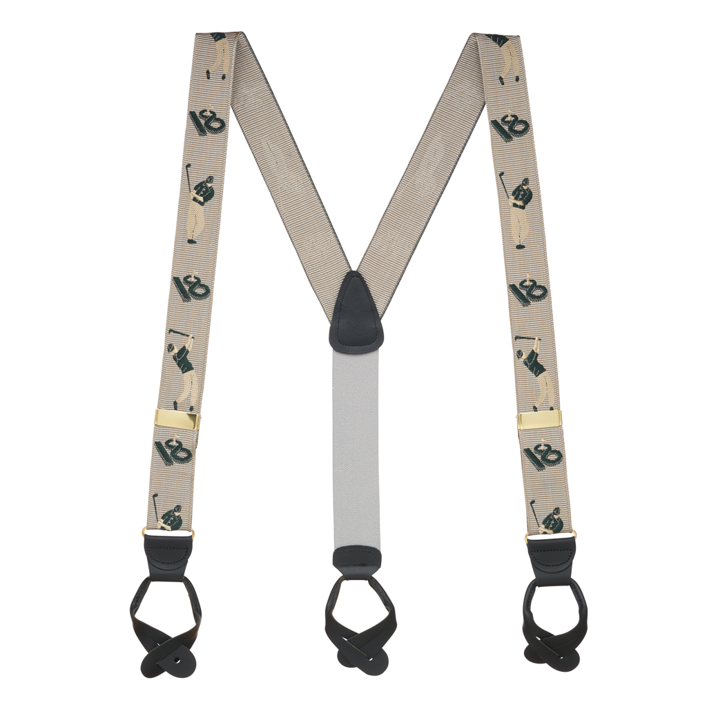 Grosgrain Button Suspenders - Golfer Full View