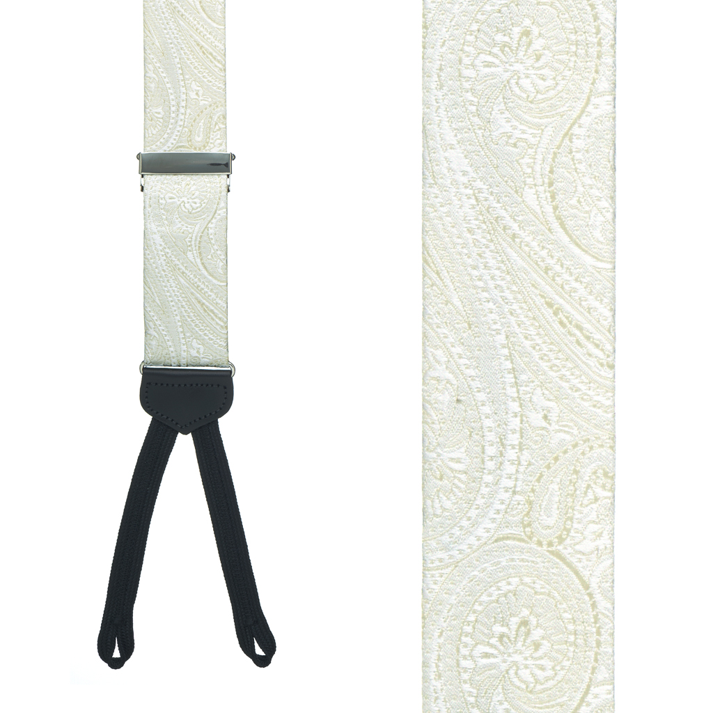 Silk Paisley Suspenders in Ivory - Front View