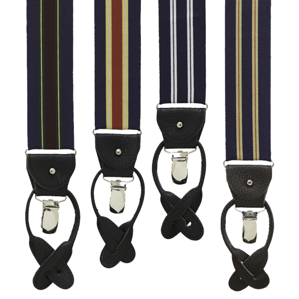 Barathea Variable Stripes Convertible Suspenders