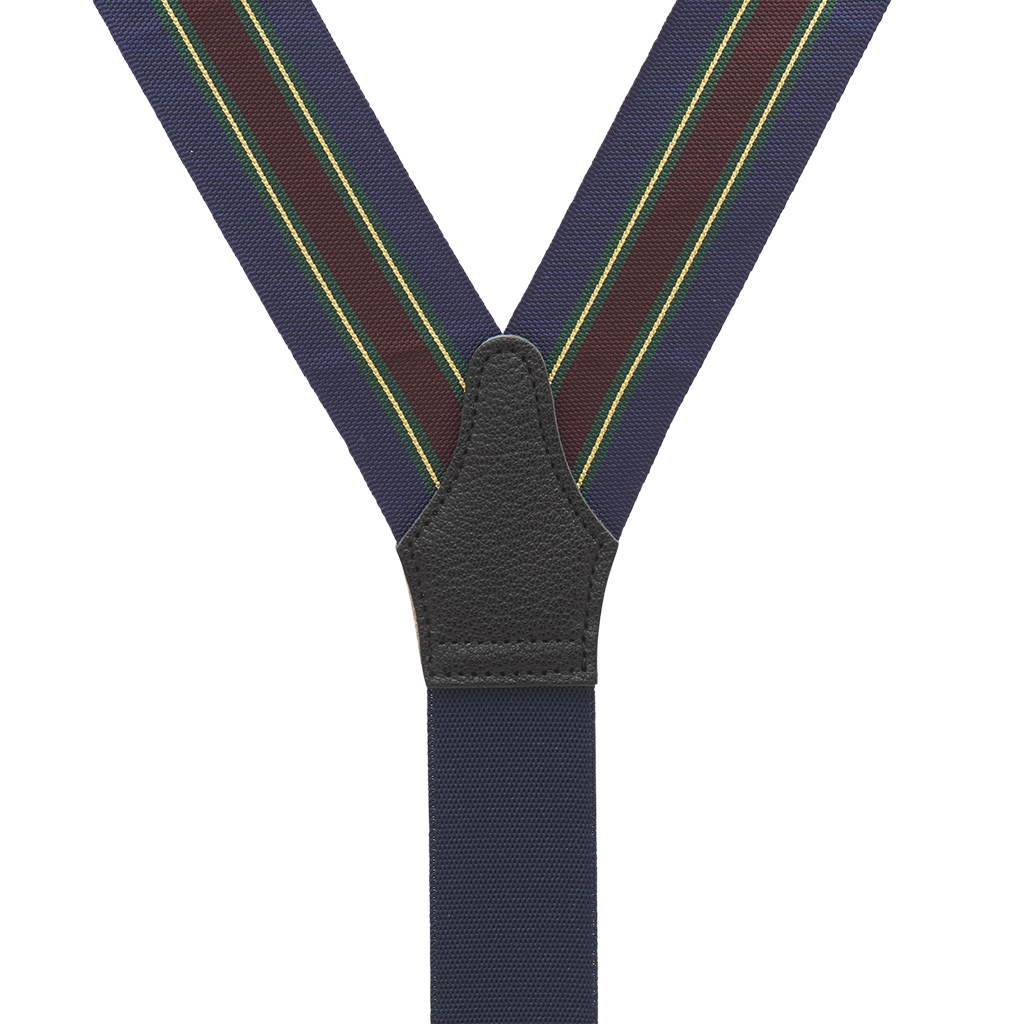 Barathea Variable Stripes Convertible Suspenders - Green Rear View