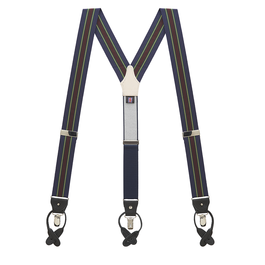 Barathea Variable Stripes Convertible Suspenders - Green Full View