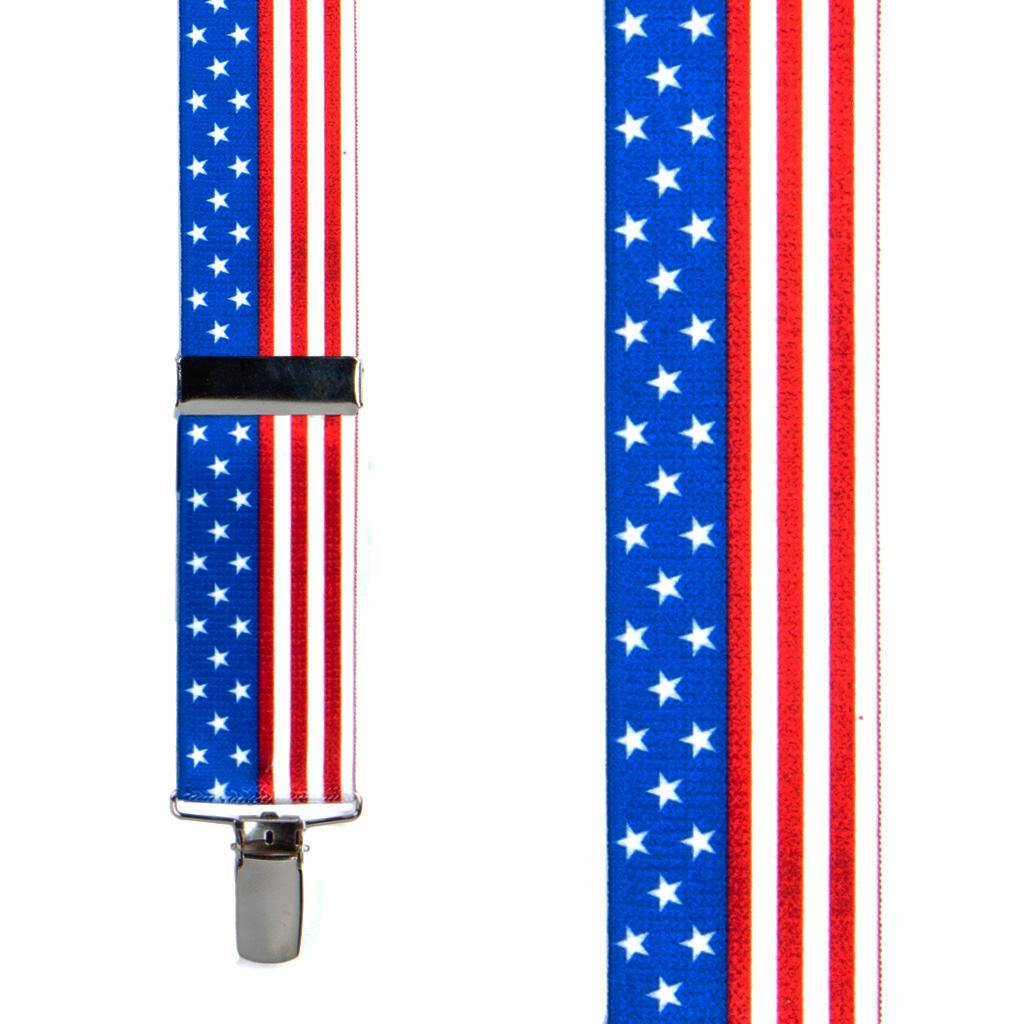Front View - USA Stars and Stripes Suspenders - 1.5 Inch Wide, Clip