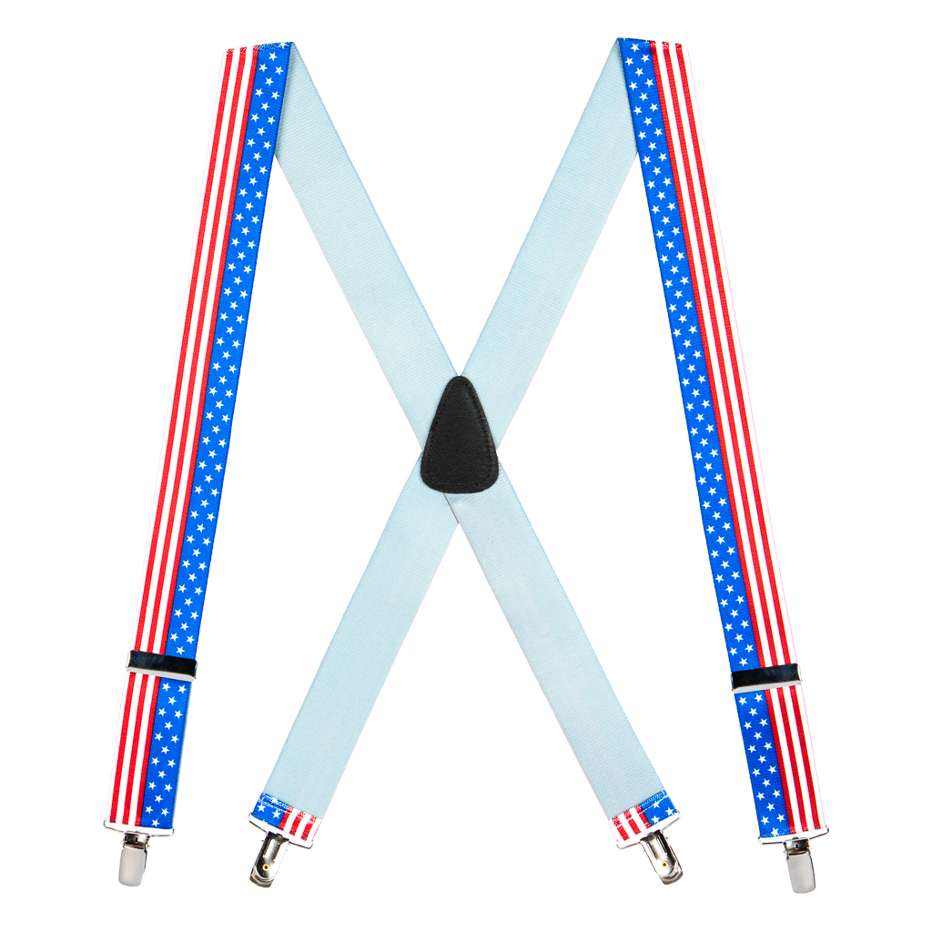 Full View - USA Stars and Stripes Suspenders - 1.5 Inch Wide, Clip