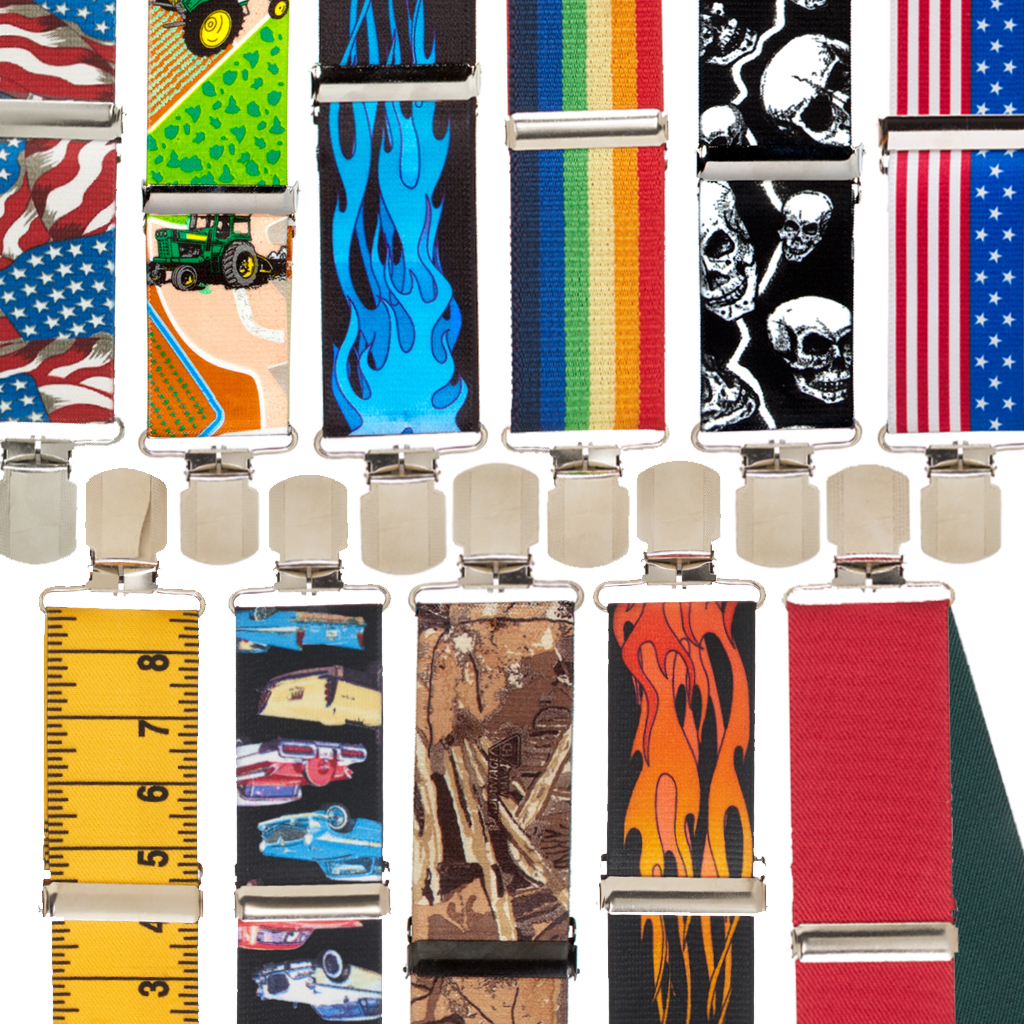 Novelty Pin Clip Suspenders - All Designs