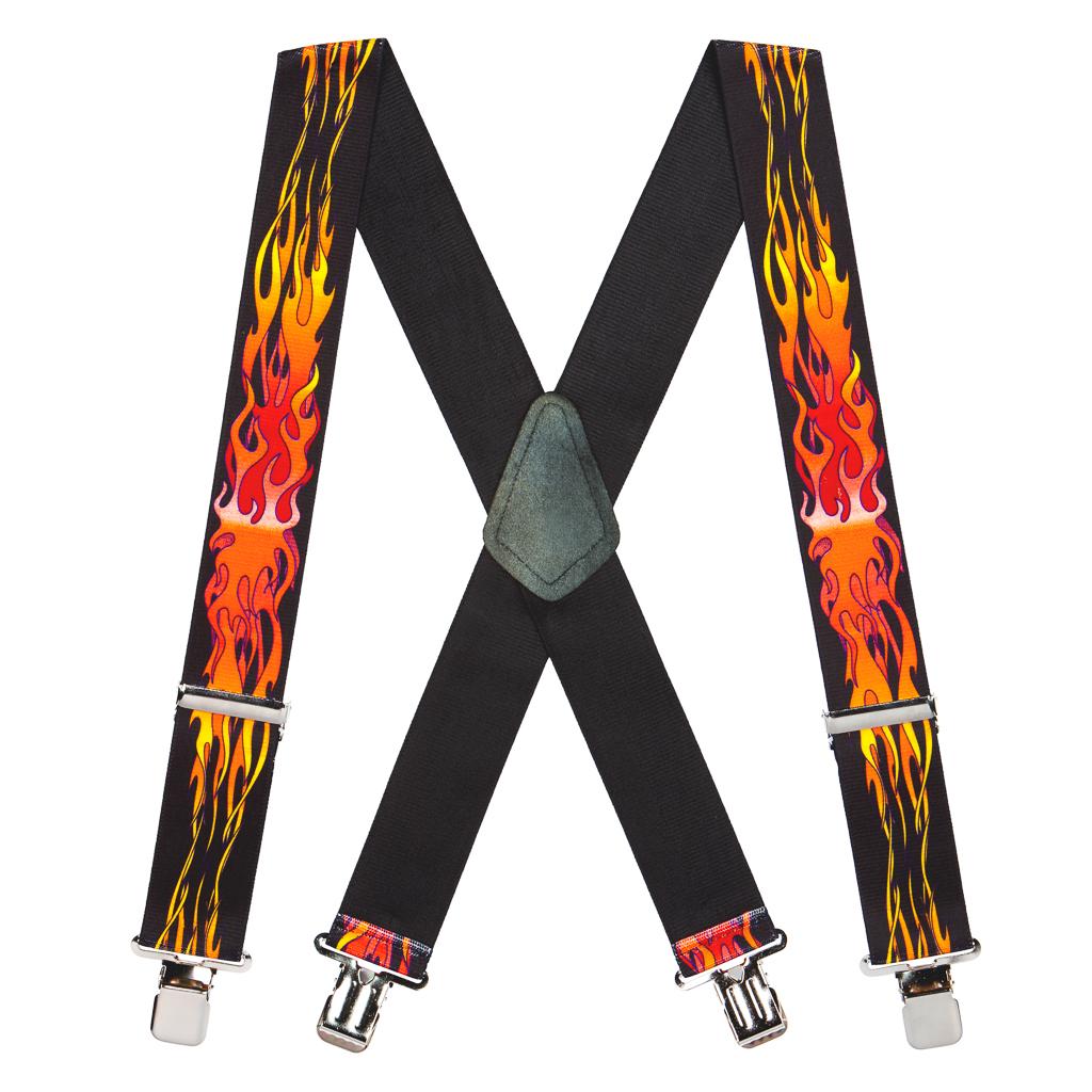 Pin Clip Suspenders in Orange Flames - Full View