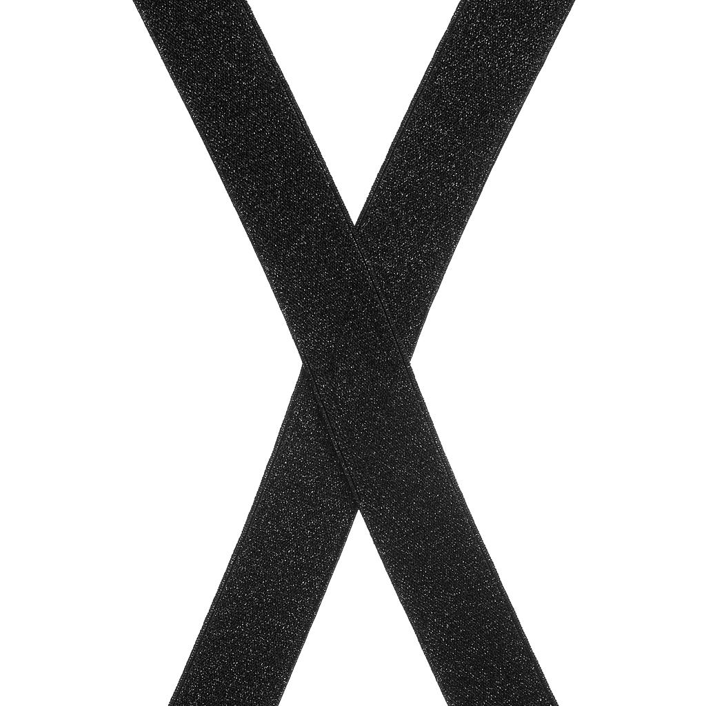 Black Glitter Suspenders - 1 Inch Wide Clip - Rear View