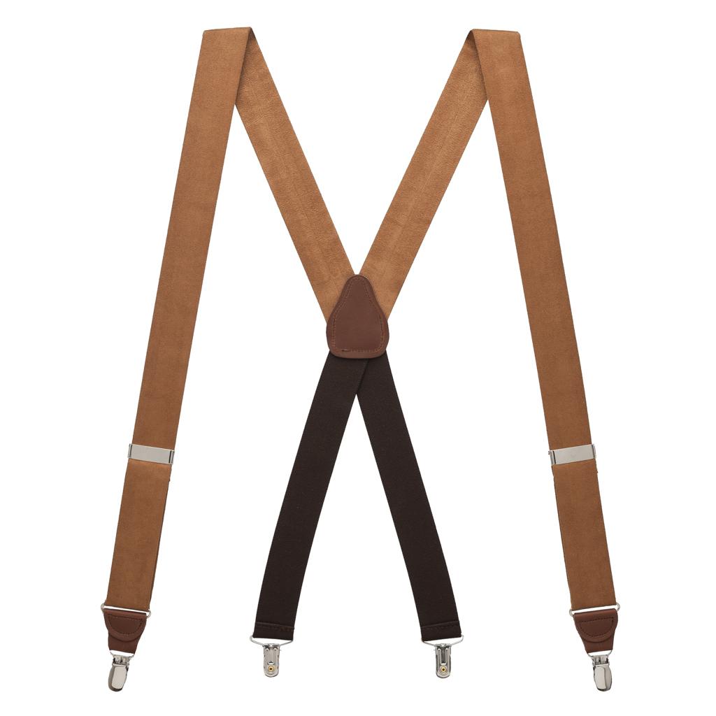 Suede Drop Clip Suspenders - Full View