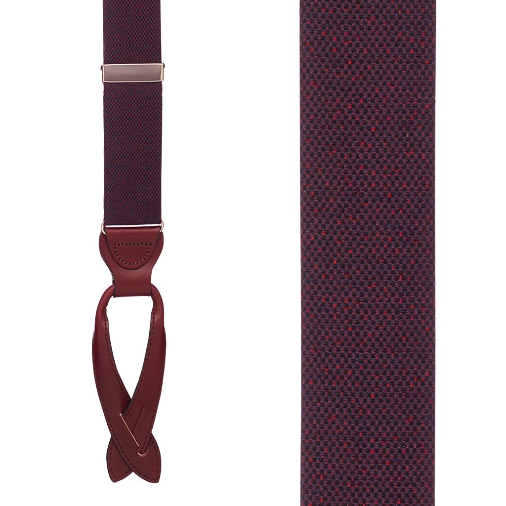 BURGUNDY Canton Silk Tweed Suspenders Front View