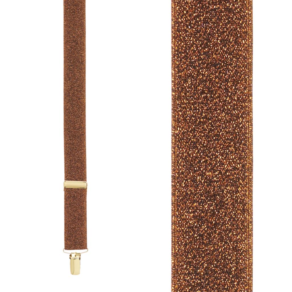 Glitter Suspenders Front View Copper