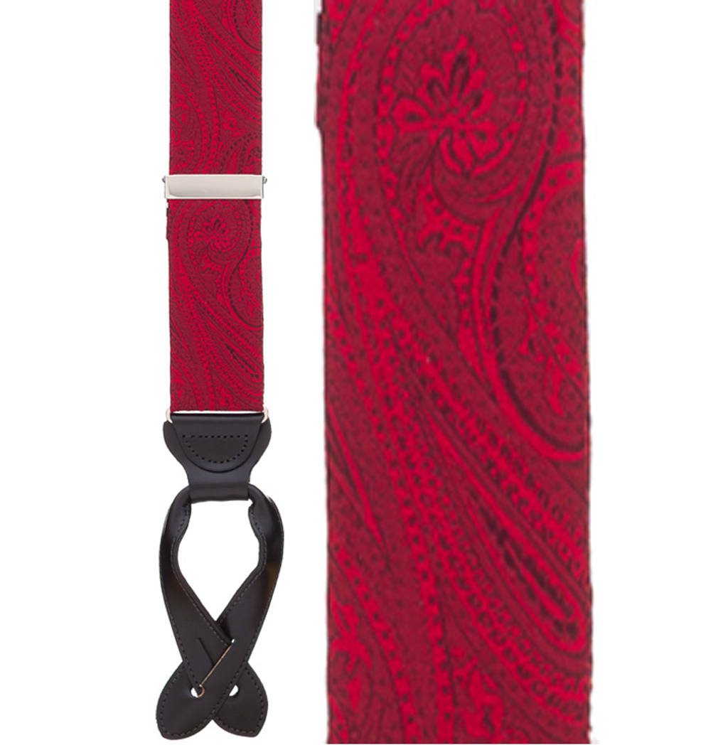 Large Paisley Silk Suspenders - Button Red Front View