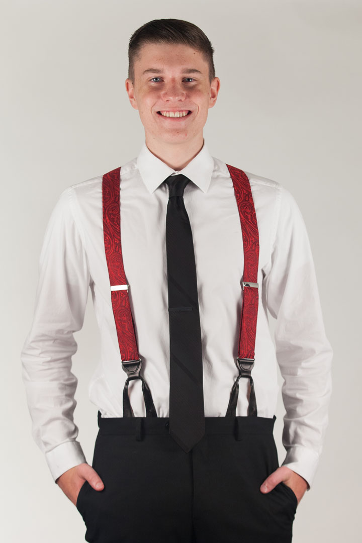 Model Wearing Large Paisley Silk Suspenders - Button Red Front View