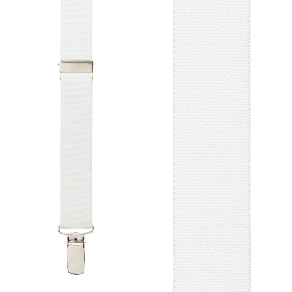 1 Inch Wide Clip Y-Back Suspenders in White - Front View