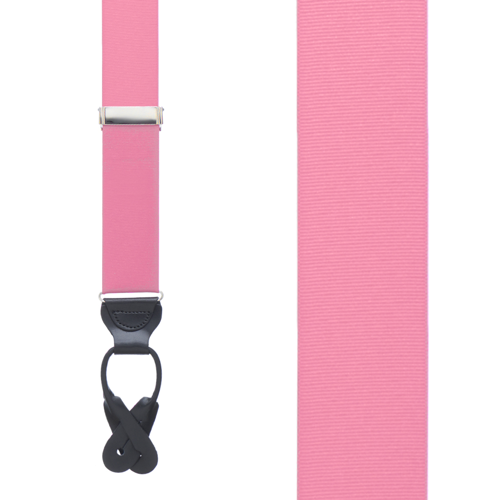 Grosgrain Button Suspenders - Pink Front View