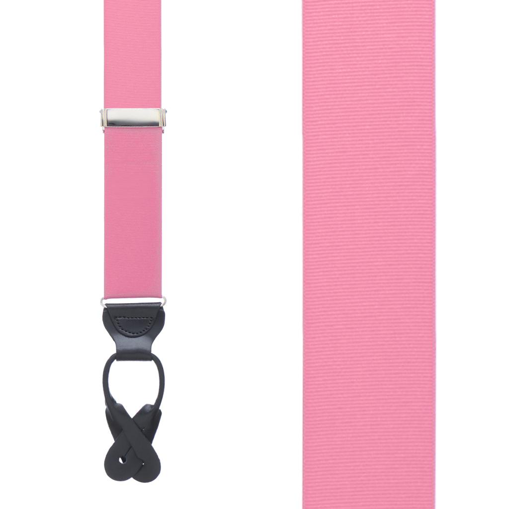 Grosgrain Button Suspenders - Pink Front View