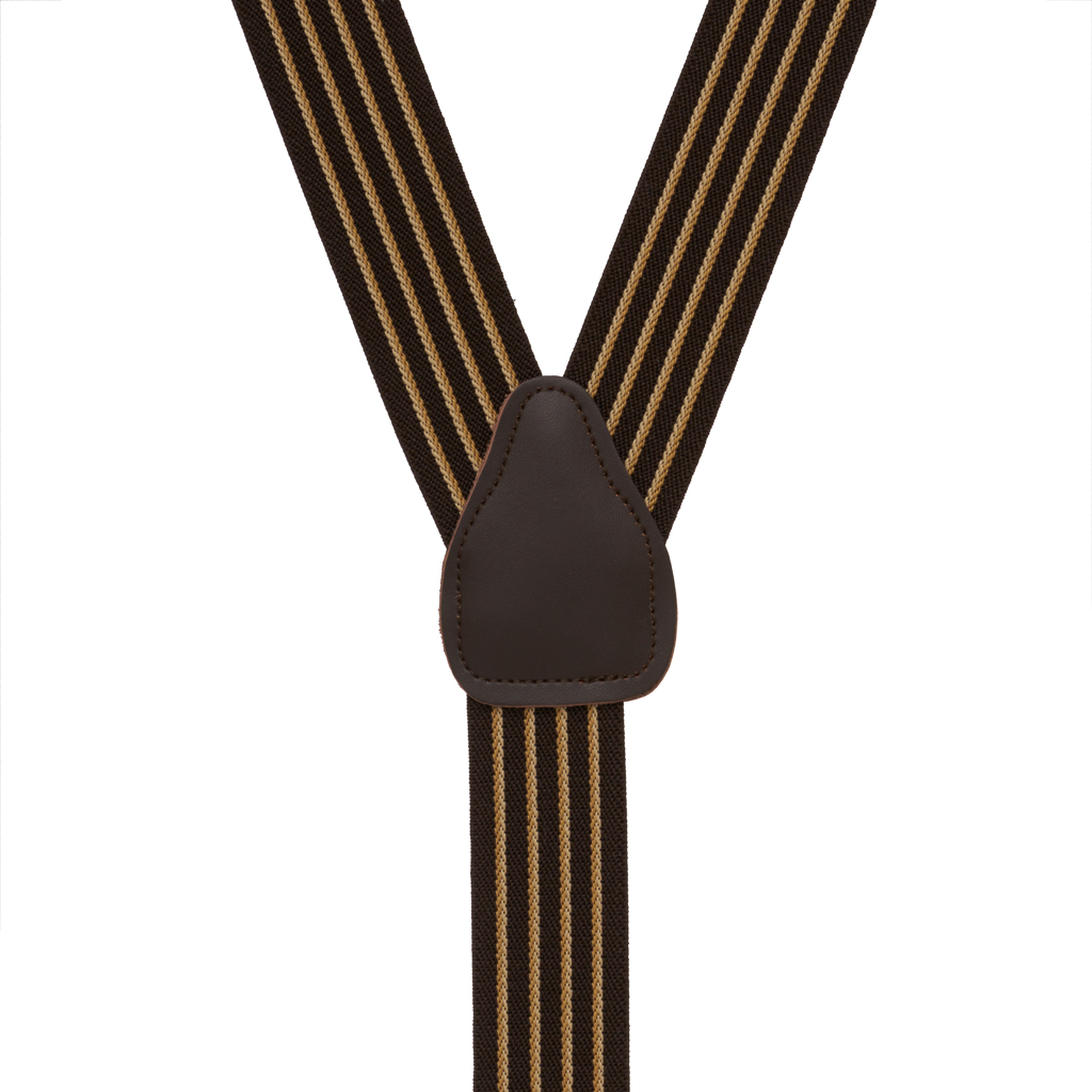 Rear View - Pinstripe Elastic Drop Clip Suspenders (Y-Back) - Brown