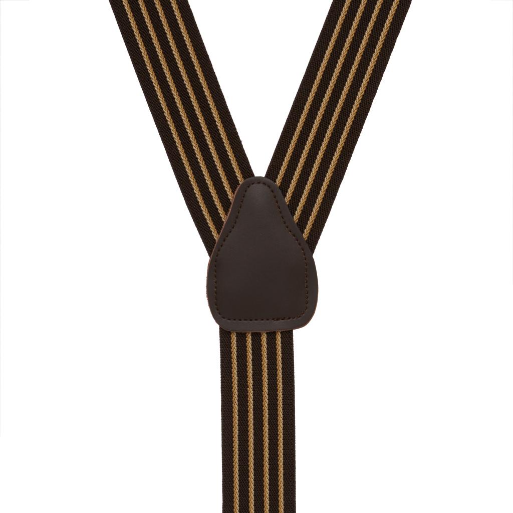 Rear View - Pinstripe Elastic Drop Clip Suspenders (Y-Back) - Brown